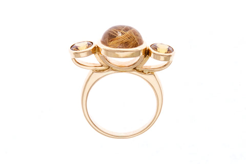 18ct Ring In Yellow Gold With Rutilated Quartz 3.66cts & Grossular Garnets 1.55cts