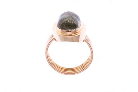 18ct Ring In Rose Gold With Green Rhutilated Quartz 6.03cts