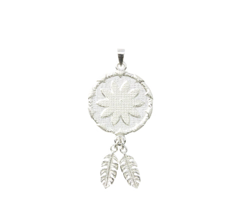 Silver Pendant Flower Goroka Basket With Two fern Leaves PNG Design