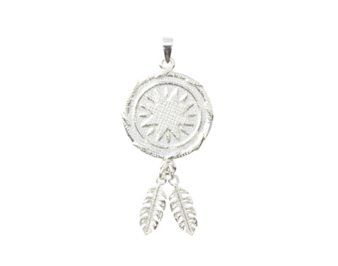 Silver Pendant Star Goroka Basket With Two Fern Leaves PNG Design