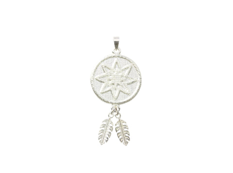 Silver Pendant 8 Stra Goroka Basket With Two Fern Leaves PNG Design