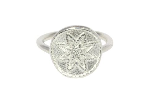 Silver Ring With 8 Star Goroka Basket Papua New Guinea Design