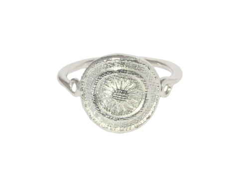 Silver Ring With 2 Star Goroka Basket From Papua New Guinea Design