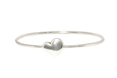 Silver Bangle With Solid Heart