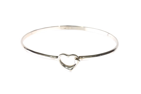 Silver Bangle With Heart Clasp