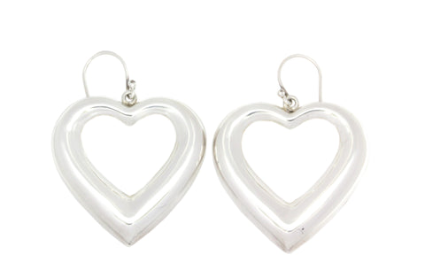 Silver Earrings With Heart Shape