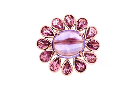 9ct Ring In Rose Gold Amethyst With 12x Pink Tourmalines
