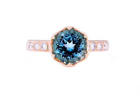 18ct Ring In Yellow Gold With Aquamarine & Diamonds
