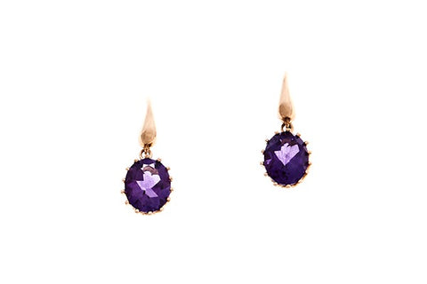 9ct Earrings In Yellow Gold With Amethyst On Shepherd Hooks