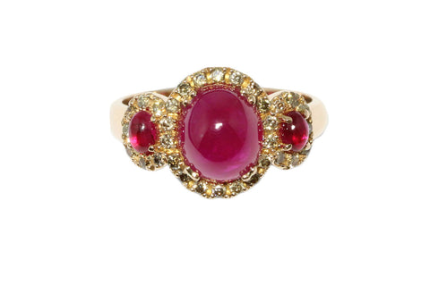 18ct Ring in Rose Gold with Cabochon Rubies & Cognac Diamonds