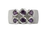 18ct Ring In White Gold With Purple Sapphires