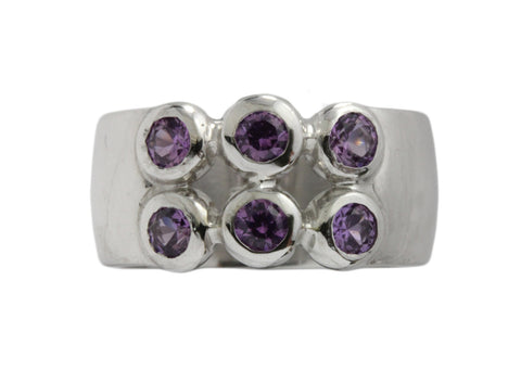 18ct Ring In White Gold With Six Faceted Purple Sapphires