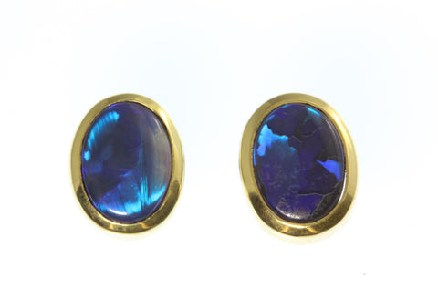 18ct Earrings In Yellow Gold With Solid Black Lightning Ridge Opals