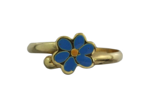 18ct Ring In Yellow Gold With Blue Enamel Flower For A Child