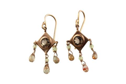 9ct Earrings In Rose Gold With Smoky Quartz & Spinel Drops