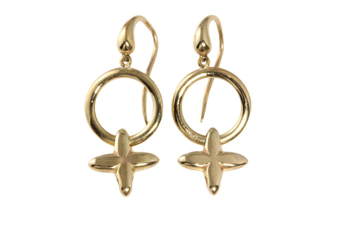 9ct Earrings In Yellow Gold Hugs & Kisses On Shepherd Hooks