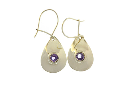 9ct Earrings In Yellow Gold With Purple Sapphires On Shepherds Hooks.