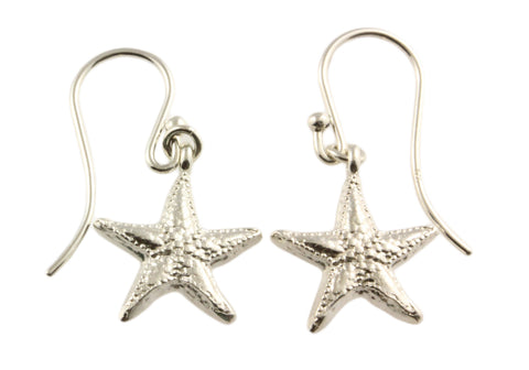 Silver Earrings With Starfish On Shepherds Hooks