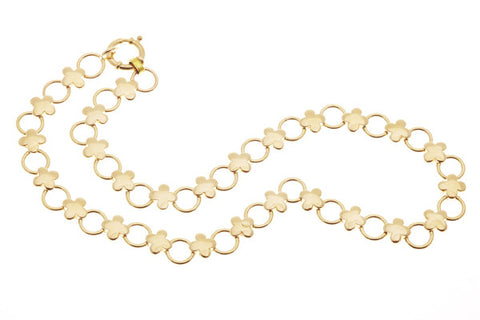 9ct Yellow Gold Necklace with Flower & Circle Links