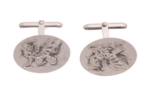 Silver Cufflinks Welsh Dragons