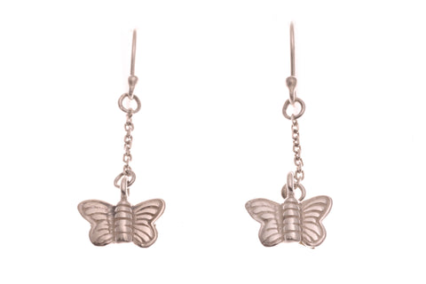 Silver Earrings With Butterfly Drop