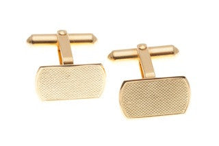 18ct Cufflinks In Yellow Gold With Florentine Finished Centre