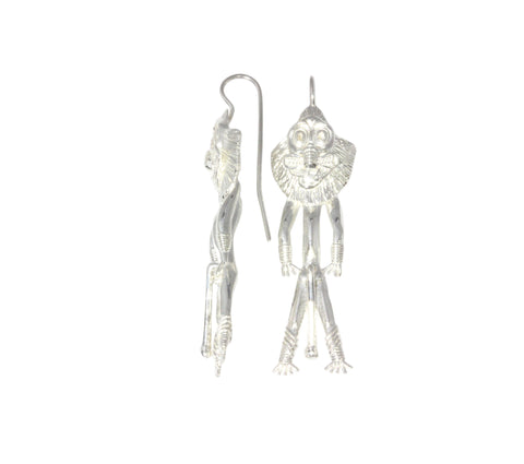 Silver Earrings With Ancient Idol Mask Man