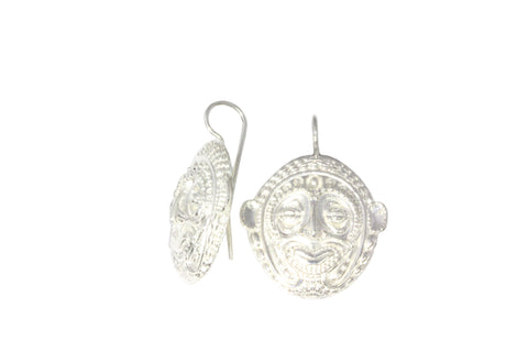 Silver Earrings With Sepik Mask PNG Design