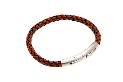 Tan Leather Mens Bracelet with Steel Clasp