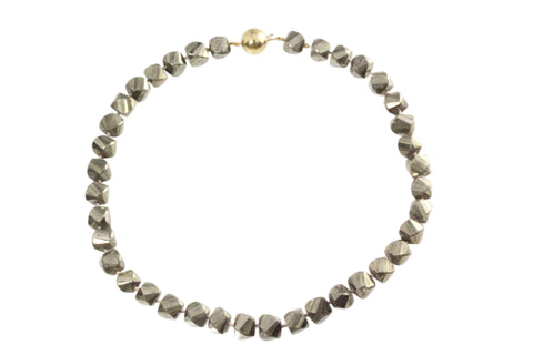 9ct Yellow Gold Ball Clasp With Faceted Pyrite Beads