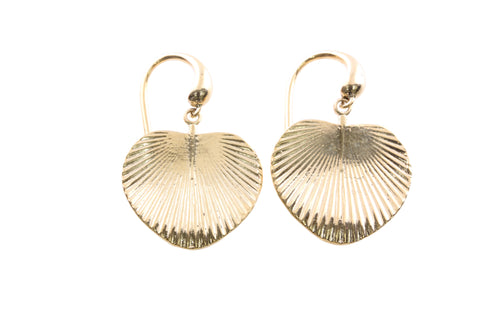 9ct Earrings In Yellow Gold With Fan Palm Leaf