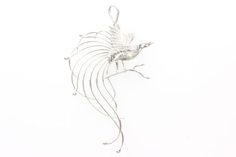 Silver Long Tailed Bird Of Paradise Pendant