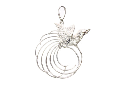Silver Pendant With Bird Of Paradise