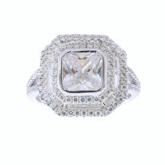 Sybella Silver Pave Octagonal CZ Ring