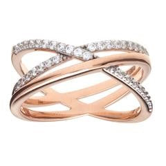 SYBELLA Two Tone Rose Gold Cubic Zirconia Crossover Ring