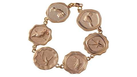 18ct Bracelet In Rose Gold With Birds From Papua New Guinea