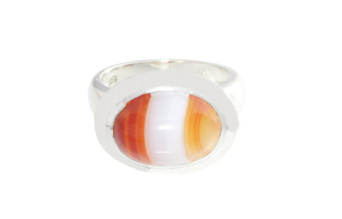 Silver Ring With Oval Cabochon Agate