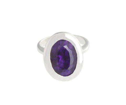 Silver Ring With Faceted Dark Amethyst