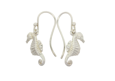 Silver Earrings With Sea Hoers And Shepherd hooks