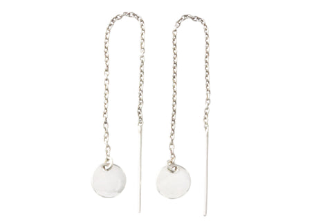 Silver Earrings With Mariana Chain Disc Drop