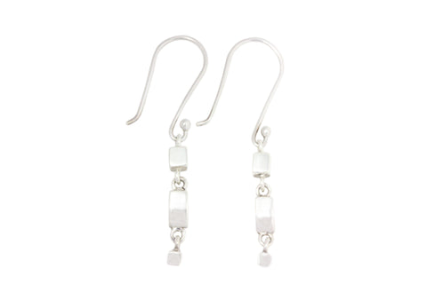 Silver Earring With Tiny Cubes On Shepherd Hooks