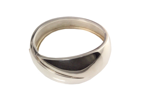 Silver Bangle With Thick Cross Over Top Tapered And Hinged