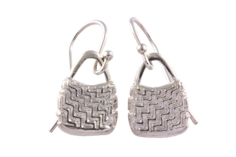Silver Earrings With Bilum