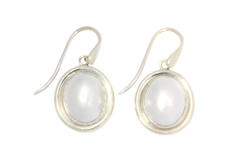 Silver Earrings On Shepherd Hooks With Mabe Pearls