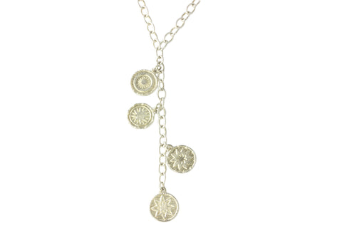 Silver Goroka Basket Disc Necklace