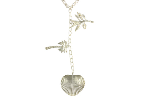 Silver Necklace With Tropical Leaves