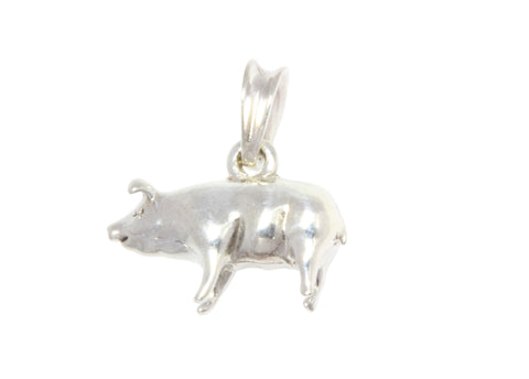 Silver Pendant With Pig