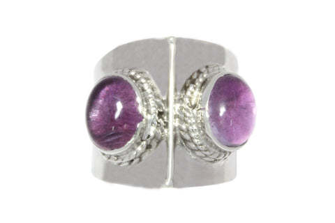 Silver Ring With Cabochon Amethysts