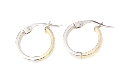 9ct Earrings In 2 (Two) Tone White And Yellow Gold Flat Shiny Hoop