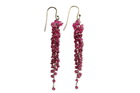9ct Earrings In White Gold With Rubelite Tourmaline Drops